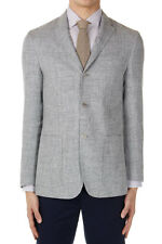 CORNELIANI ID New Men Gray Linen Virgin Wool Three Button IDENTITY Blazer Jacket