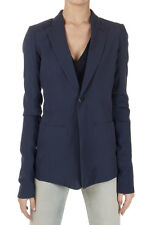 RICK OWENS VICIOUS Women LONG BLAZER Jacket Silk blue Made in Italy