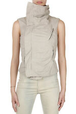 RICK OWENS Women Beige Leather Zipped SLEEVELESS BIKER Jacket New with Tag