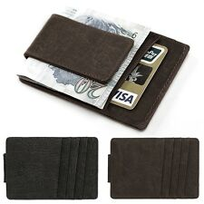 Men Casual Synthetic Leather Wallet Credit Card ID Holder Magnet Money Clip