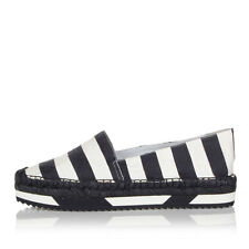DOLCE & GABBANA Woman Pinstriped silk and cotton espadrillas shoes spain made