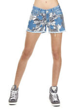 DON'T CRY Women New Blue GIULIA Denim Shorts Jeans with Sequins Made in Italy