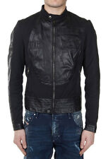 DIESEL BLACK GOLD Men Black Fabric and Leather JUFFALO Jacket Made in Italy