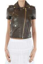 MICHAEL KORS Women green Leather short sleeved jacket New with Tags Original