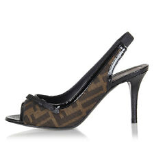 FENDI Women New Black Textile Leather Heels Pumps Slingback Shoes Made in Italy