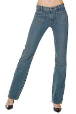 SAINT LAURENT Women New Blue Cotton Denim Pants Trousers Jeans Made in Italy