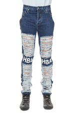 HBA HOOD BY AIR Men Blue Destroyed Denim Jeans Made in USA New with Tag