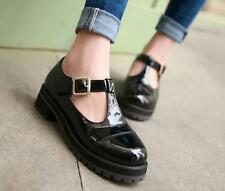 Ladies Patent leather Round toe Block Med-heels T-strap Mary Janes Casual shoes