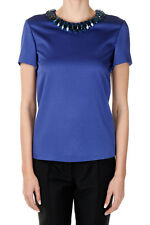 ALEXANDER MCQUEEN Women Blue T-Shirt with Jewel Inserts Made in Italy New