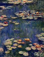 Poster Vintage MONET WATER LILLIES by Monet print on paper or Canvas Giclee