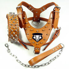 Spiked Studded Leather Dog Harness&Collar&Leash Set for Pitbull Mastiff L