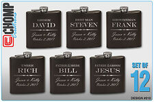 12 Personalized Engraved Flasks, Groomsman Gifts, Wedding Bridesmaid Party