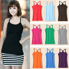 Women Lady Solid Strap Cotton Vest Casual Camisole Slim Fit Sling Tops Blouse
