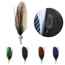 Men Peacook Feather Brooches Brooch Pins Corsage Wedding Party Fancy Dress Decor
