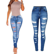 Womens Fashion Slim Skinny Jeans Denim Pants Stretch Distressed Ripped Jeans New