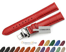Genuine Croco Grain  Leather Womens Wrist Watch Straps Deployant Strap 16mm