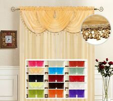 SOLID SHEER VOILE WINDOW TREATMENT LISA CURTAIN PANEL, WATERFALL FRINGE VALANCE