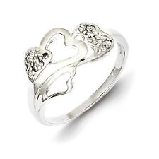 Sterling Silver Open Hearts Ring With Clear CZ Size 6 to 8