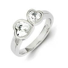 Sterling Silver Two Hearts Ring With Clear CZ 3.15 gr Size 6 to 8