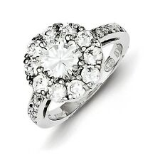 Sterling Silver Flower Shaped Clear CZ Ring Size 6 to 8