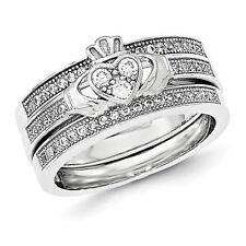 Sterling Silver Claddagh 3 Ring Clear CZ Wedding Set 6.56 gr Size 6 to 8