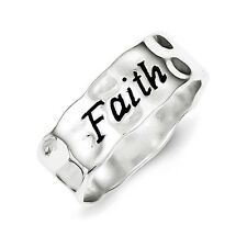Sterling Silver Hammered & Polished Faith Word Ring 3.69 gr Size 6 to 8