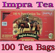 IMPRA TEA - ENGLISH BREAKFAST / GREEN TEA / 100 ENVELOPED TEA BAGS - CEYLON TEA