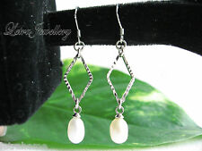 925 Stamped Sterling Silver Real Cultured Freshwater Pearl Rhombus Drop Earrings