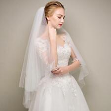 Trimming 2 layer white / ivory fingertip length wedding bridal veil with comb