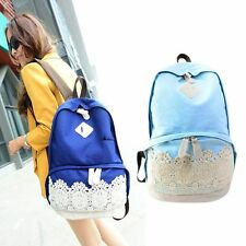 Fashion Lace Denim Women Girls Travel Campus School Bag Canvas Backpack Cool