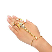 New Silver/Gold Tone Scorpion Adjustable Finger Ring Hand Chain Bracelet