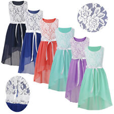 Lace&Chiffon Flower Girl Formal Jr. Bridesmaid Wedding Pageant Dress Maxi Skirt