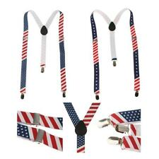 Unisex Suspender Clip-on Braces Elastic Y-back Suspender American Flag Suspender