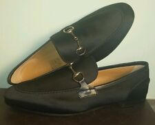 GUCCI NEW POWER CLASSIC ICONIC BLACK SATIN HORSEBIT LOAFERS EU 38 US 8