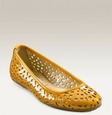 Jimmy Choo WELLS YELLOW Patent Leather Cut Out Gold Logo Flats EU 39 US 8