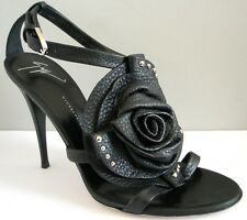 GIUSEPPE ZANOTTI Black Sexy Studded Rose Gladiator Sexy Shoes EU 36.5 38