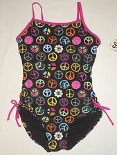 NWT Girls 10 Black Pink Multi Bright Peace Signs Swimsuit Swim Suit Swimming New