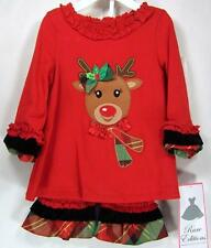 Rare Editions Baby Girls Outfit Red Holiday Reindeer Applique Polka Dot Leggings