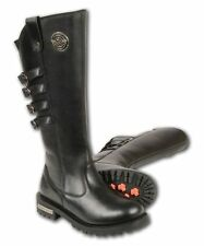 WOMEN'S MOTORCYCLE HIGH RISE  WATERPROOF LEATHER RIDING BOOT W/ZIPPER & 4 BUCKLE
