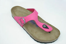 Birkenstock Suede Leather Gizeh $199rrp Pink SOFT FOOTBED BNIB