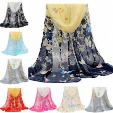 Butterfly Women Girls Long Scarves Soft Wrap Lady Shawl Silk Chiffon Scarf New