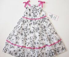 NWT Rare Editions Girls 4 White Black Pink Floral Summer Party Dress Sundress