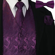 Dark Purple Men Paisley Tuxedo Dress Vest Waistcoat & Necktie, Bowtie And Hanky