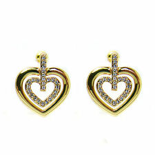 Gold Plated Double Heart  Stud  Earrings  made with SWAROVSKI® Crystals