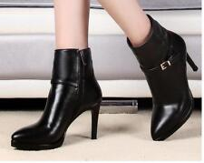 Fashion Ladies Pointy toe Leather Stiletto High-heels Zip Pump Ankle boots shoes
