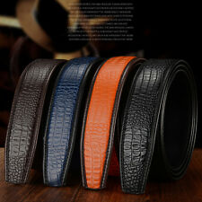 New Mens Faux Crocodile Skin Leather Belt For Automatic Waist Buckle Strap Belt