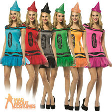 Adult Crayola Crayon Glitzy Dress Costume Various Colours Ladies Fancy Dress New