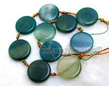 """SALE 28mm Round Coin Natural Green Striped agate Loose Beads strand 15""""-los663"""