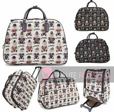 LADIES TEDDY PRINT TRAVEL HOLDALL HANDLE WHEELED SUITCASE DUFFLE BAG LUGGAGE