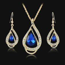 Fashion Gold Plated Water-drop Crystal Earring Necklace Rhinestone Jewelry Set